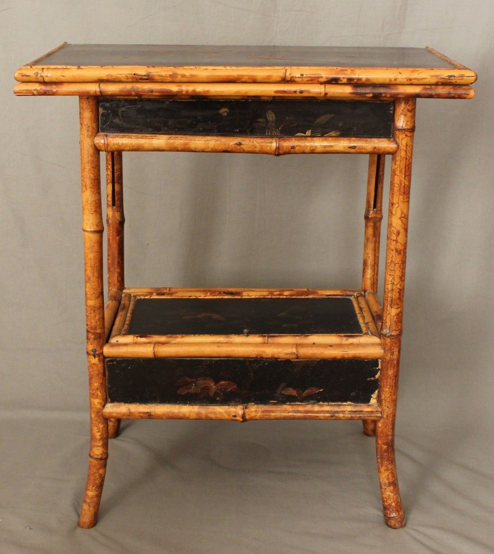 Antique Chinese Bamboo And Lacquer Swivel Top Games Table C1915