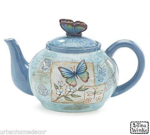 NEW-Mariposa-Garden-by-Tina-Wenke-Ceramic-40-oz-Teapot-by-burton-BURTON