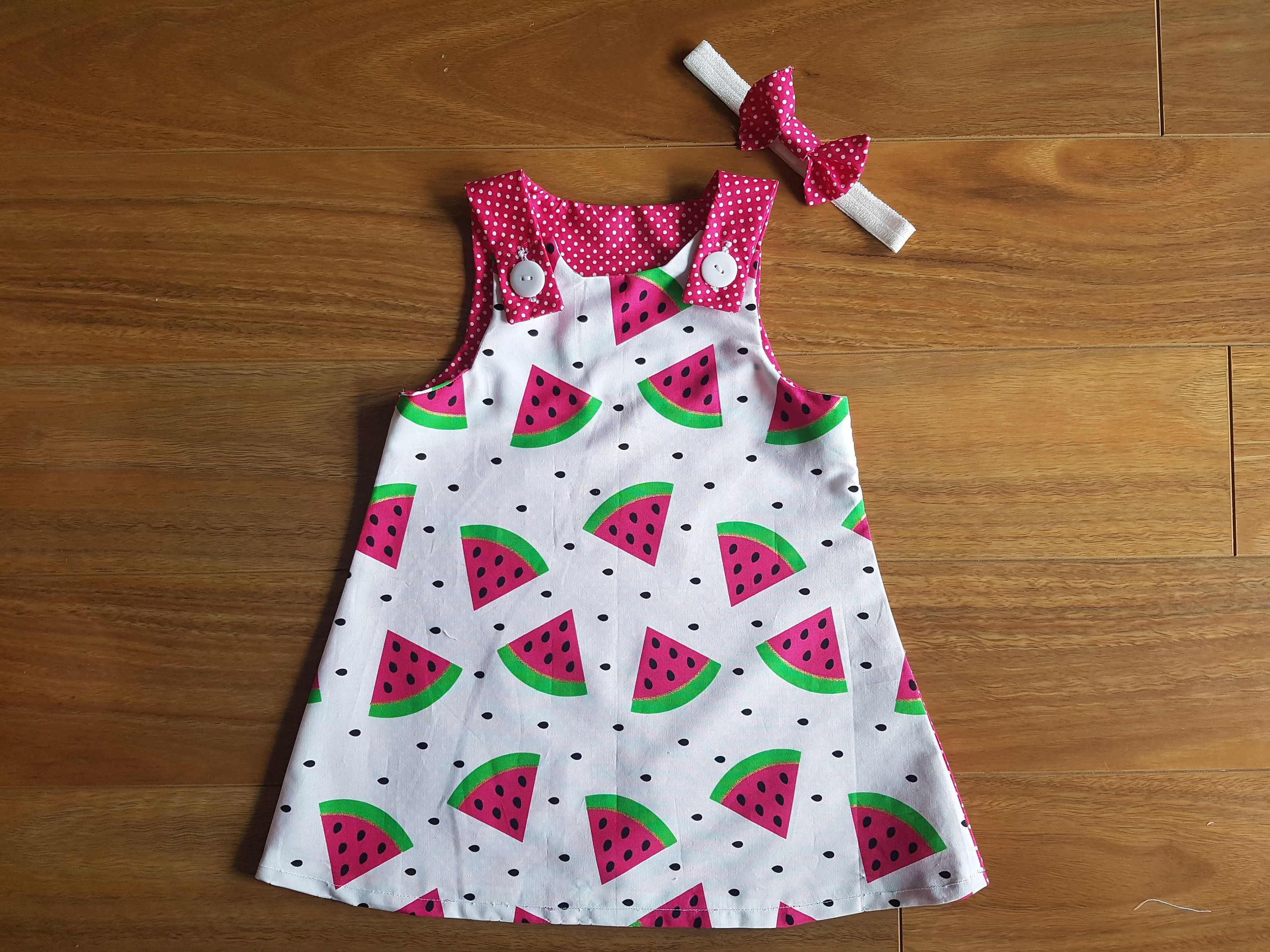 Watermelon dress baby dress girl dress polka dot dress baby