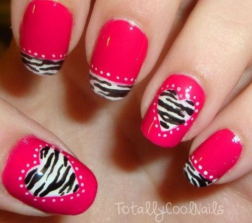Zebra-Heart-Nail-Art - Zebra-Heart-Nail-Art Makeup And Nails Pinterest Makeup