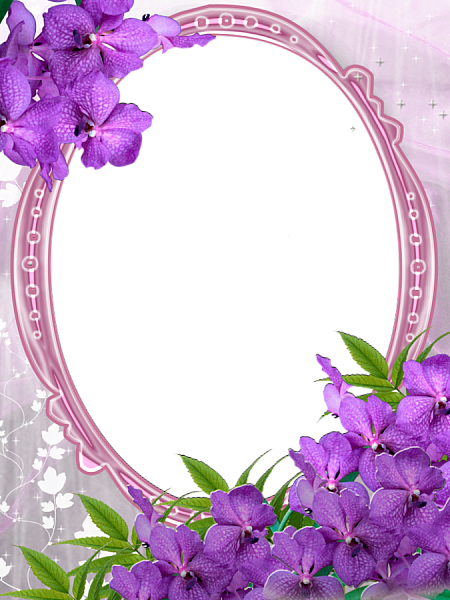 Pink Transparent Frame With Purple Flowers Clipart Flowers