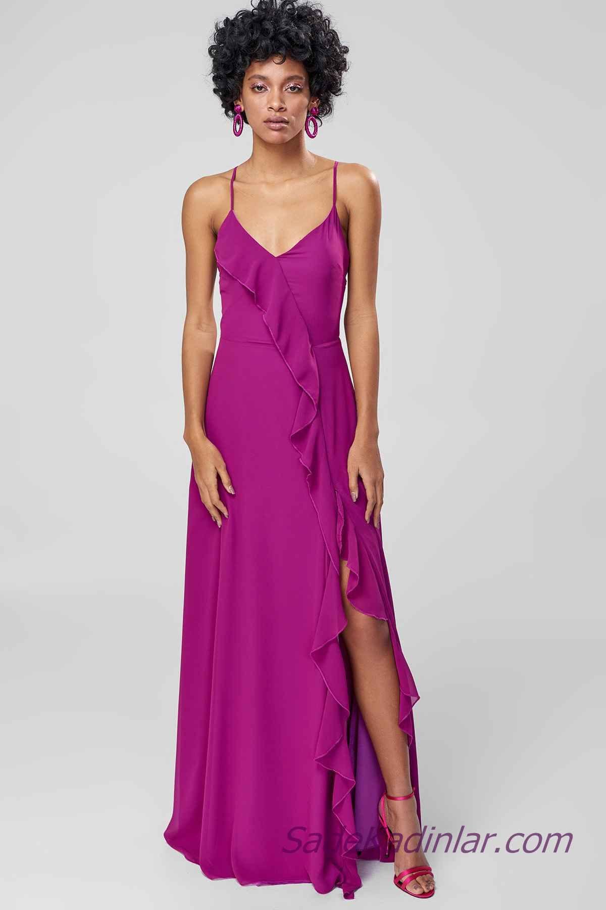 2021 Abiye Elbise Modelleri Mor Uzun Ip Askili Firfir Detayli Yirtmacli Elbise Modelleri The Dress Elbise