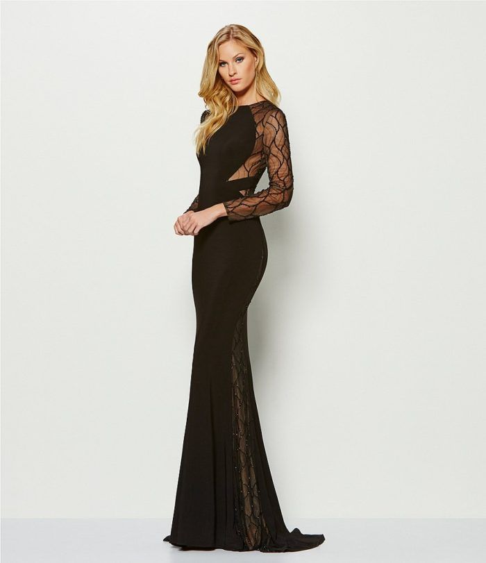 Black Beaded Evening Gown With Sheer Sleeves