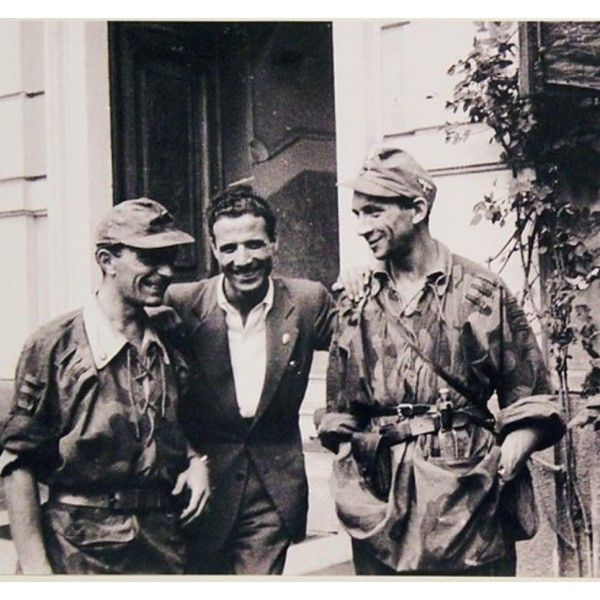 Two troopers of the 16'th taking a photo with a pro German Italian