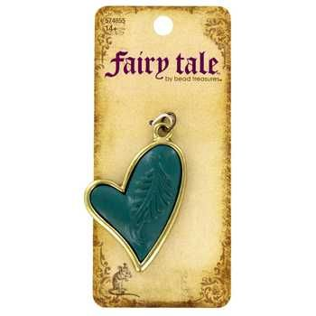 Brass & Blue Heart Pendant with Carved Feather