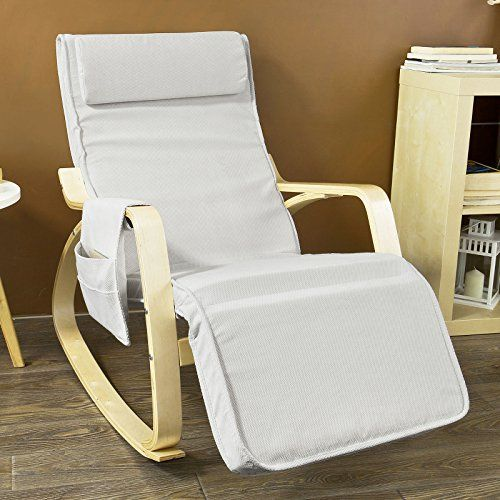 Sobuy Fst18w Comfortable Relax Rocking Chair Gliderslounge Chair Recliners With Adjustable Footrest Side Pocket White Rocking Chair Recliner Chair Foot Rest