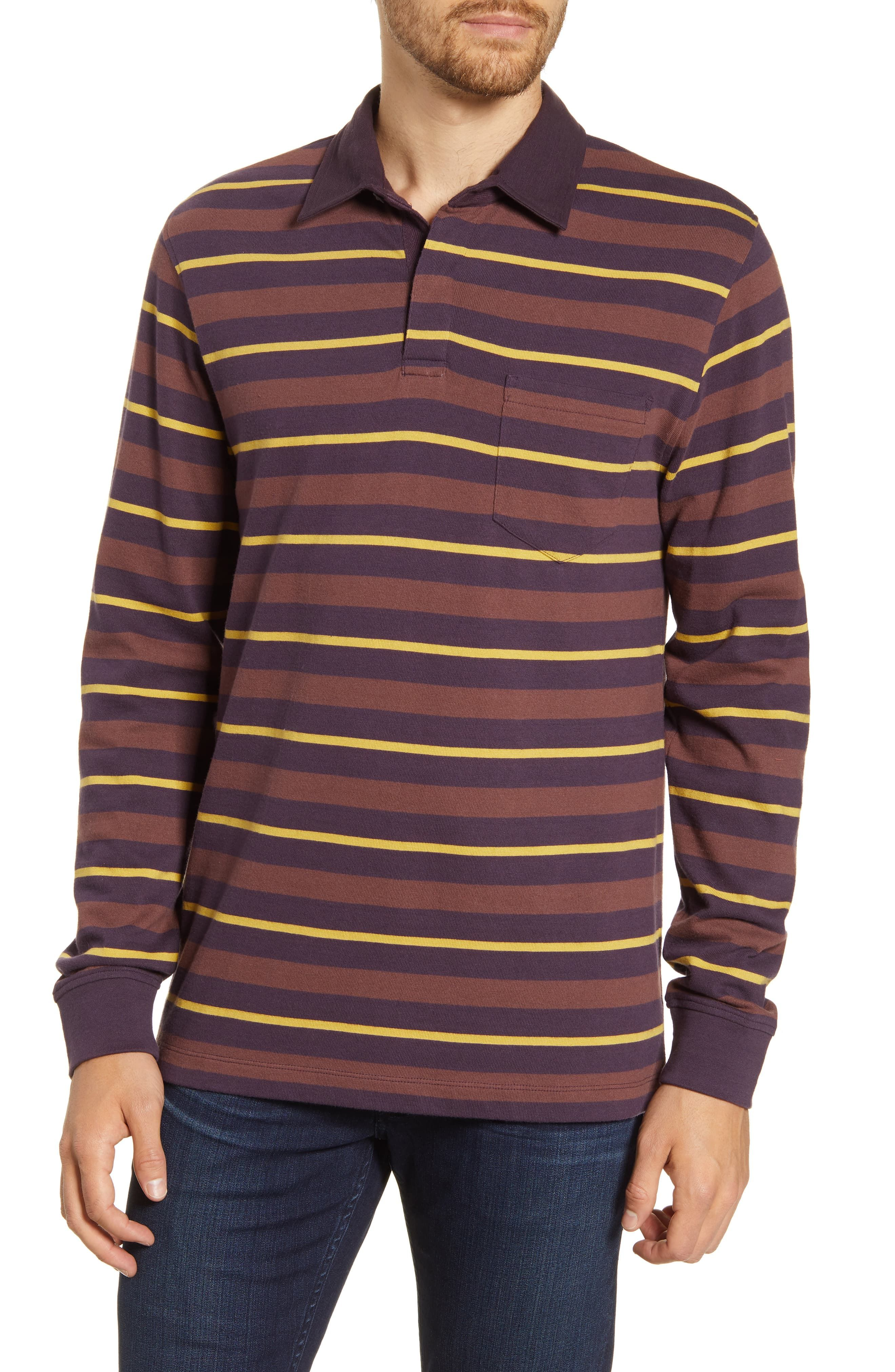 French Connection Mens Long Sleeve Stripe Crew Neck Sweater
