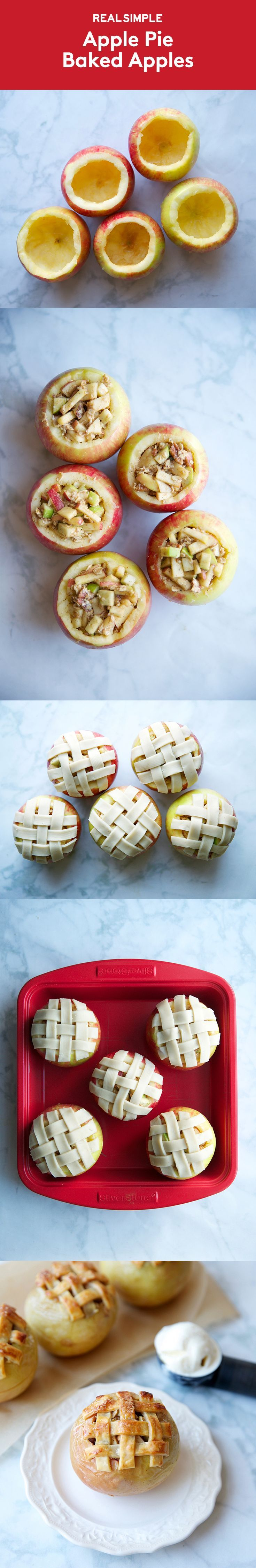 """Apple Pie Baked Apples   Despite the popular phrase """"easy as apple pie,"""" homemade pie can be quite an undertaking. And unless you're serving a crowd, you'll have a lot of leftovers—and isn't apple pie best when served fresh? Enter this adorable dessert, which offers all the flavors and aroma of a warm apple pie, pre-portioned into single-serve treats. Each apple is filled with homemade pie filling and topped with a swirl of pecan-oat crumble."""