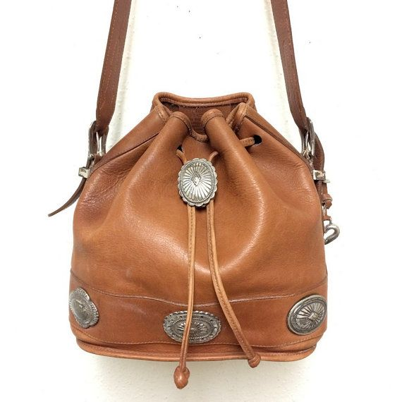 Vintage BRIGHTON Out West Leather Large Bucket Bag by oldtanery