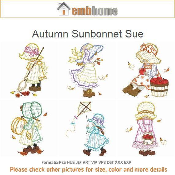 Autumn Sunbonnet Sue Machine Embroidery Designs Instant Download 4x4 ...