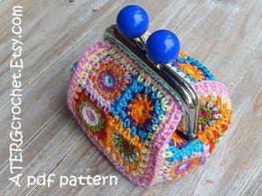 Crochet Pattern Purse Petite Square By Atergcrochet Pinterest - Monedero-crochet-patron