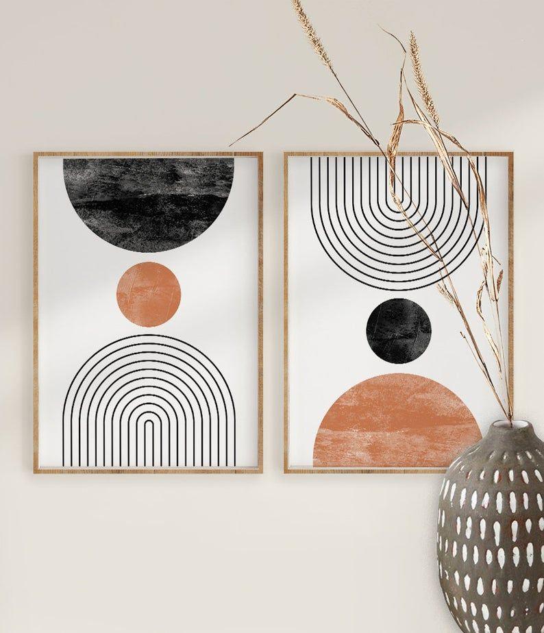 Mid Century Modern Wall Art Print Set Of 2 Neutral Abstract Geometric Digital Download Prints Black White Orange Minimal Gallery Art In 2020 Mid Century Wall Art Art Print Set Boho Wall Art