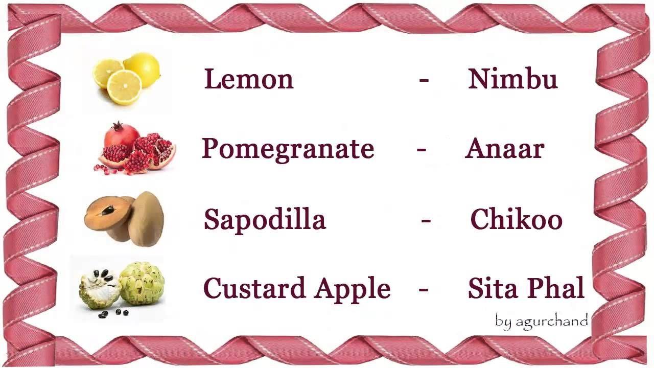 Learn Hindi Through English Fruits In Hindi Learn Hindi Hindi Language Learning Learn English Words