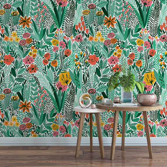 Green Wildflower Field Floral Removable Wallpaper