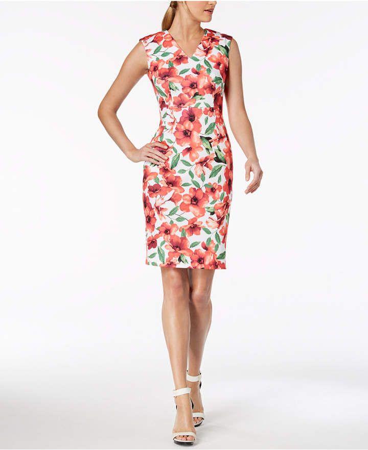 430cfe9e8ab Calvin Klein Printed V-Neck Sheath Dress