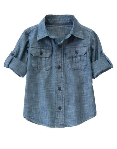 Roll Cuff Chambray Shirt from Gymboree on Catalog Spree