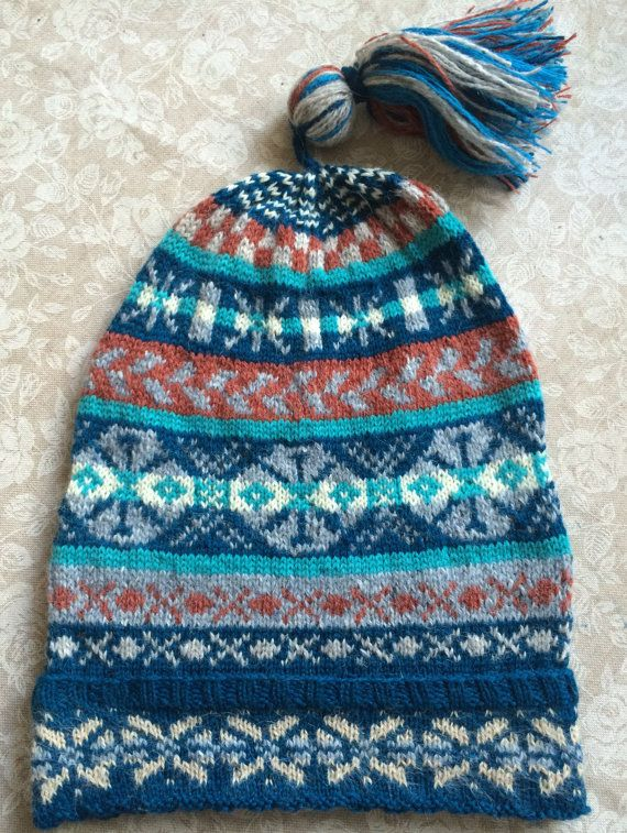 Traditional fairisle hat, known as a kep (once used by fishermen ...