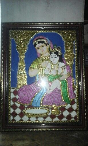 We do this tanjore painting Ouma devi