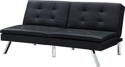 Modern Split Back Black Faux Leather Futon Sleeper Sofa Bed