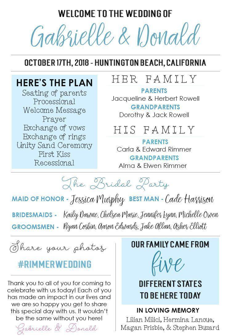 Wedding decorations reception ideas october 2018 Printable Infographic Wedding Program Unique Wedding Program