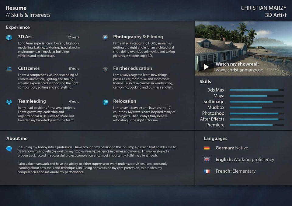 3d artist resume skills interests http