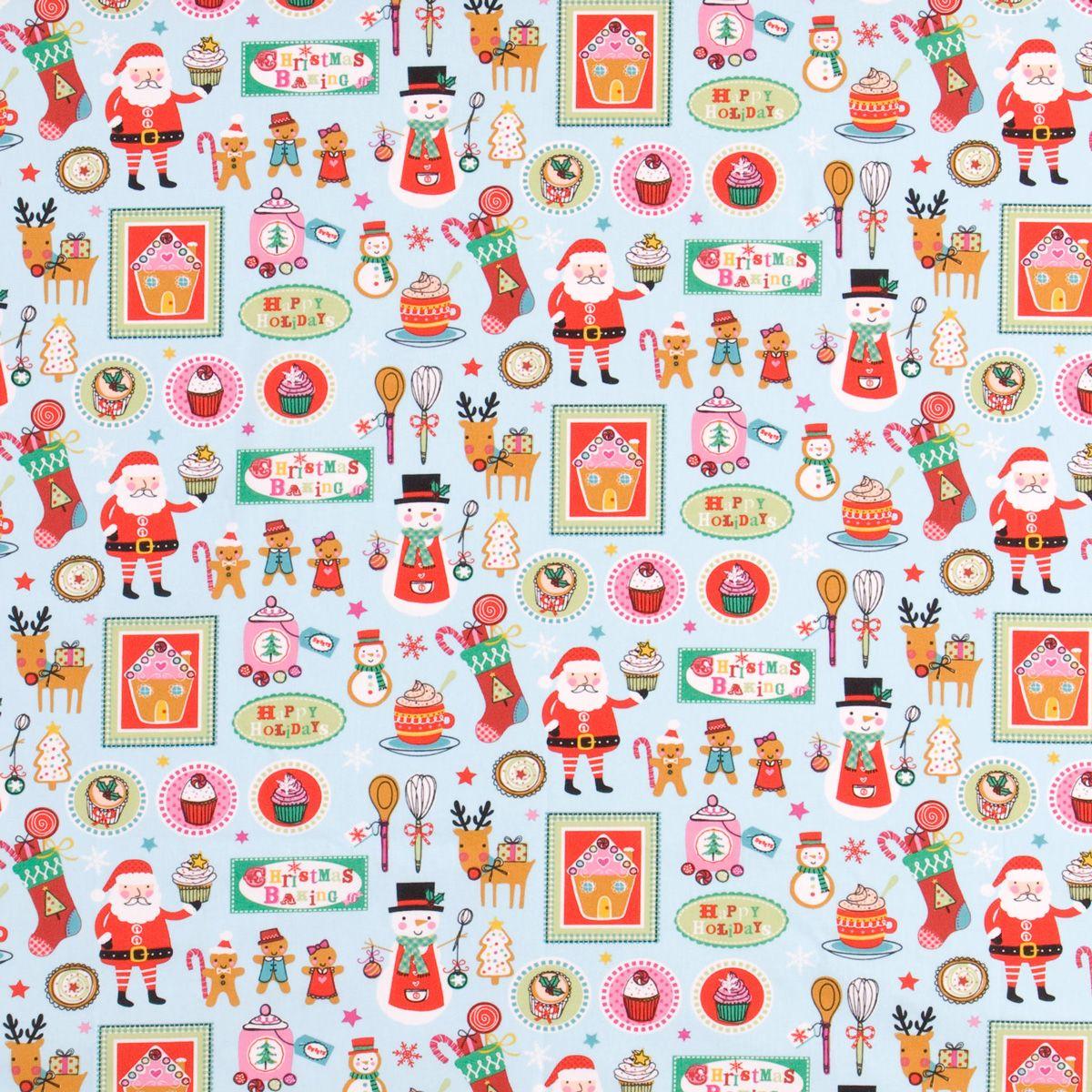Christmas Bake Curtain Fabric Aqua   Cheap Printed Fabric ...