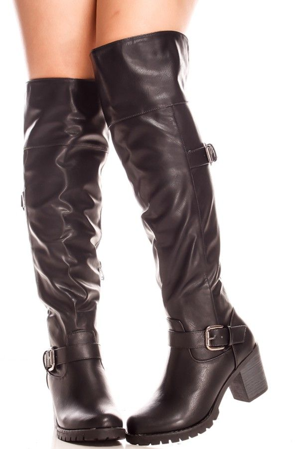 88fa023651d Leather Knee High Boots. These boots feature a faux leather material side  buckle straps