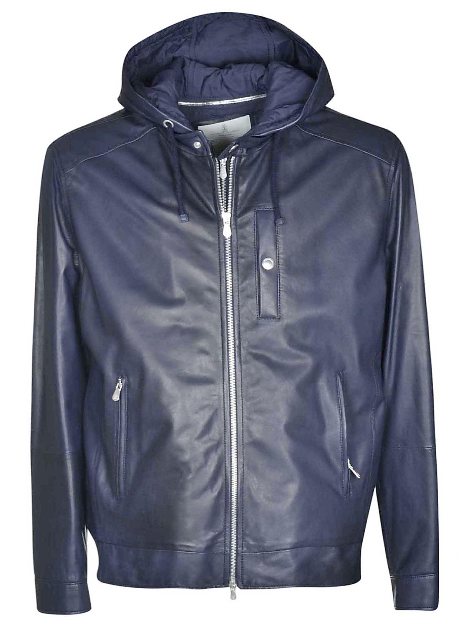 Brunello Cucinelli Leather Hooded Jacket In Blue Modesens Leather Jacket With Hood Hooded Jacket Jackets [ 2136 x 1600 Pixel ]