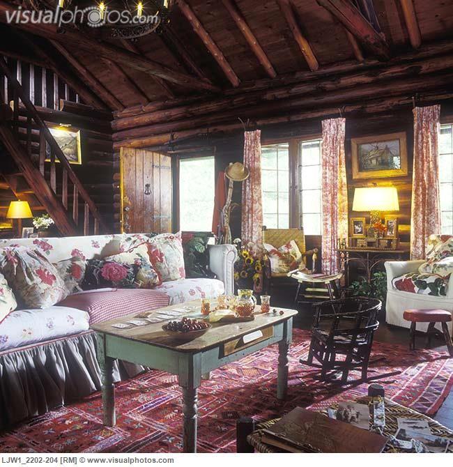 shabby chic log cabin decor   Log home log walls and