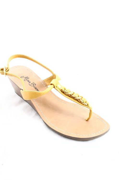 Miss Bison Yellow Chain Wedge Sandal - $15