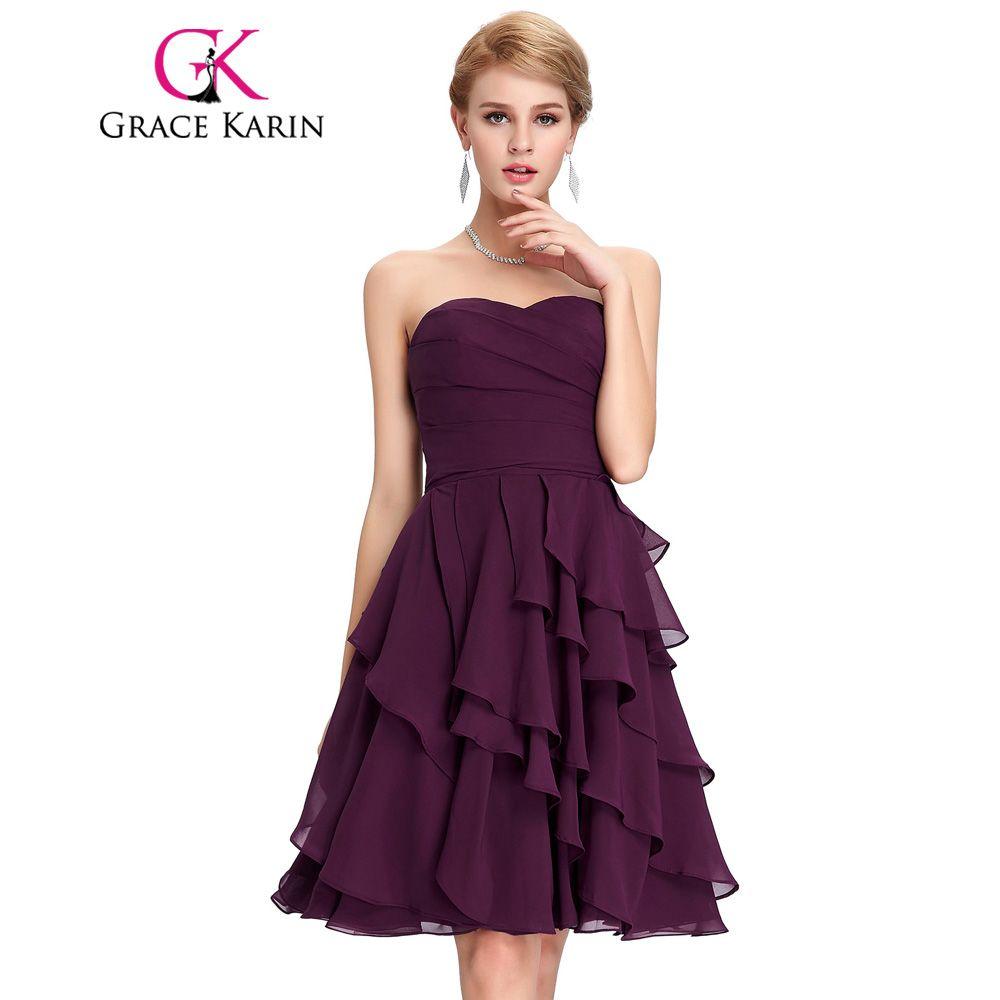 Grace Karin Short Prom Dresses Sweetheart Knee Length Tiered Chiffon ...