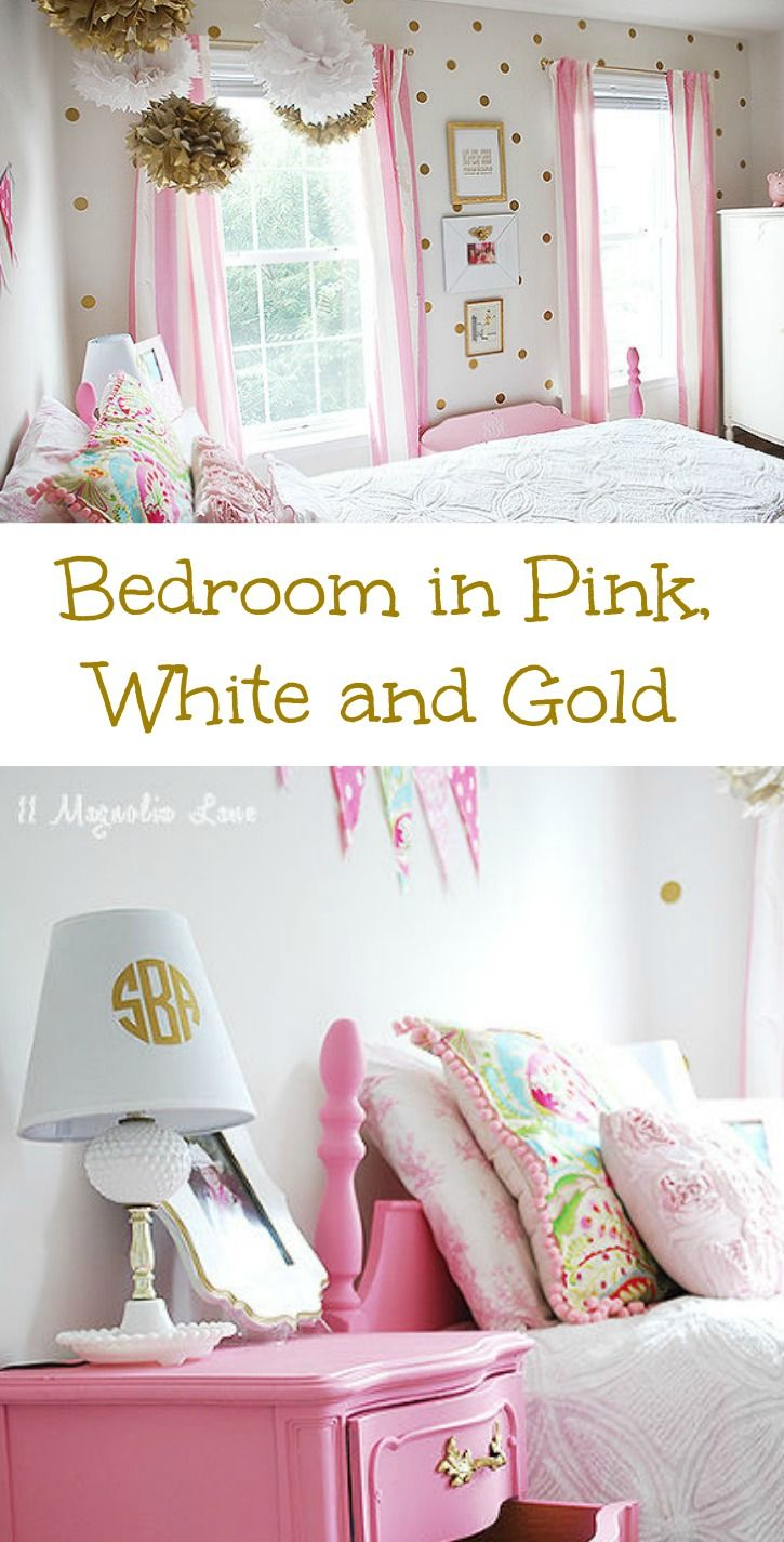 Girl 39 s room in pink white gold decor pink white bedrooms and gold - Pink and white teenage room ...