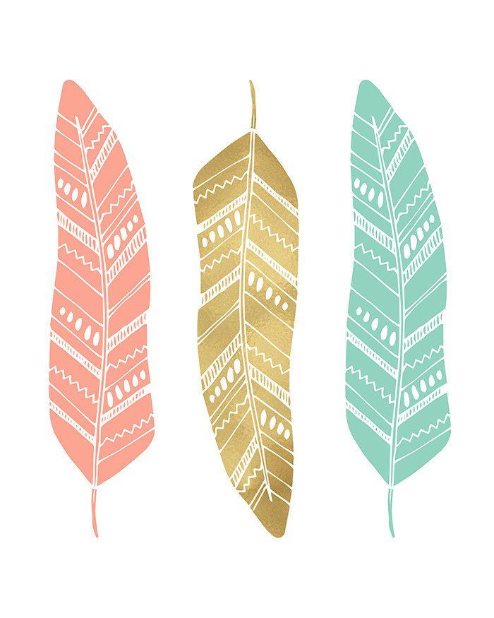 Menta plumas oro coral vivero pared decoraci n pluma for Laminas para cuadros estilo nordico