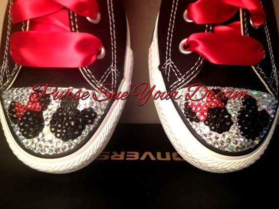Custom Swarovski Crystal Minnie   Mickey Mouse Converse Shoes - Minnie  Birthday - Mickey s Clubhouse 22f86f38302