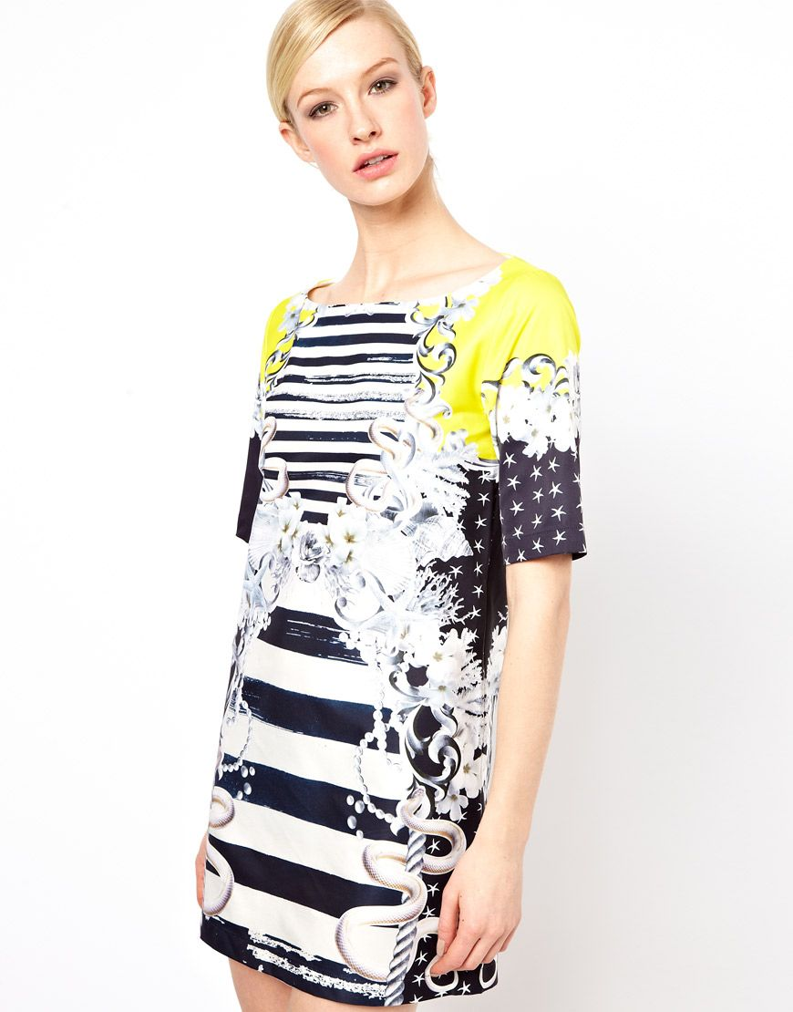 Shift Dress in Yellow Sailor by ASOS