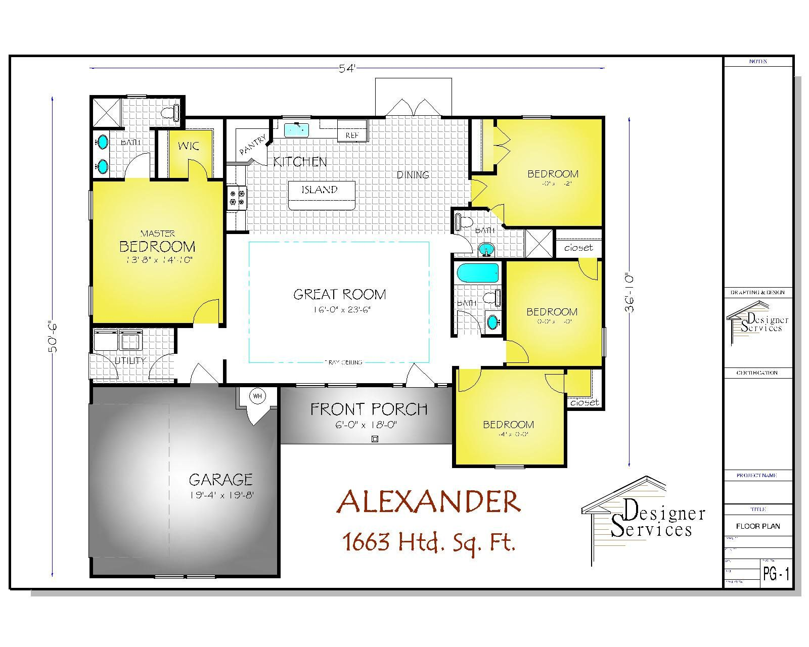 Alexander House Plan 1663 Square Feet House Plans How To Plan Floor Plans
