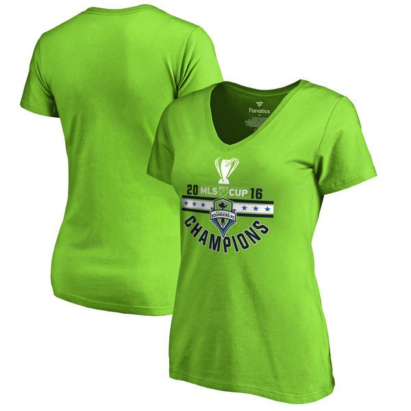 9113bfb93afb Seattle Sounders FC Fanatics Branded Women s 2016 MLS Cup Champions Red Card  V-Neck T-Shirt - Rave Green