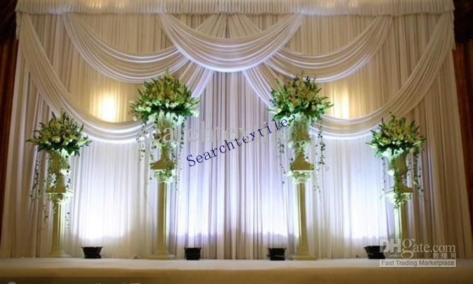 2017 top sale wedding backdrop curtain in white color stage drape