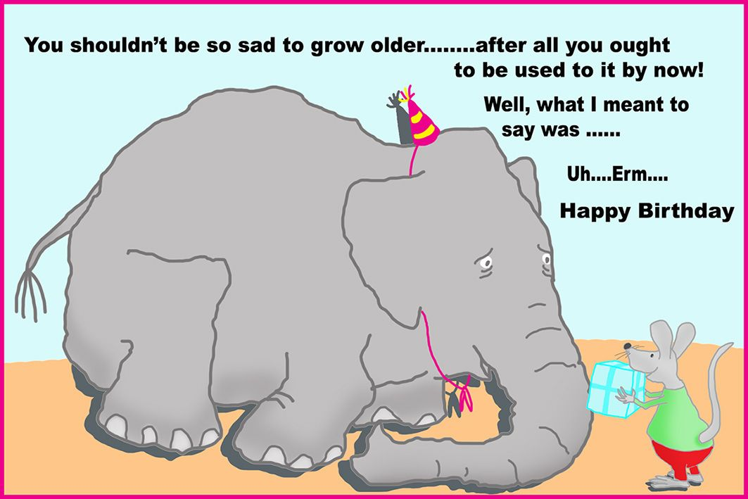 Funny Birthday Card With Elephant And Mouse