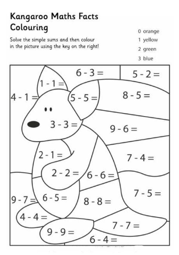 Kangaroo Math Facts Math Coloring Worksheets Math Coloring Math Facts