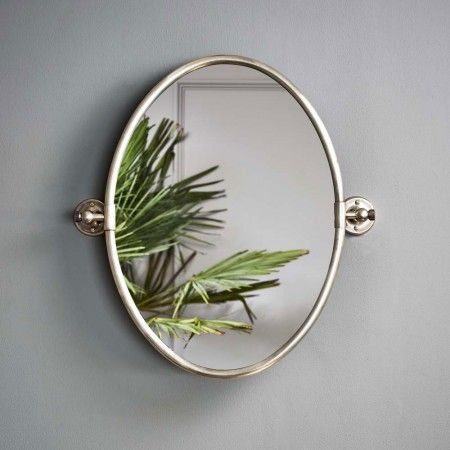 Bathroom Mirrors Oval Tilt Mirror otto oval tilting mirror in antique silver - wall mirrors