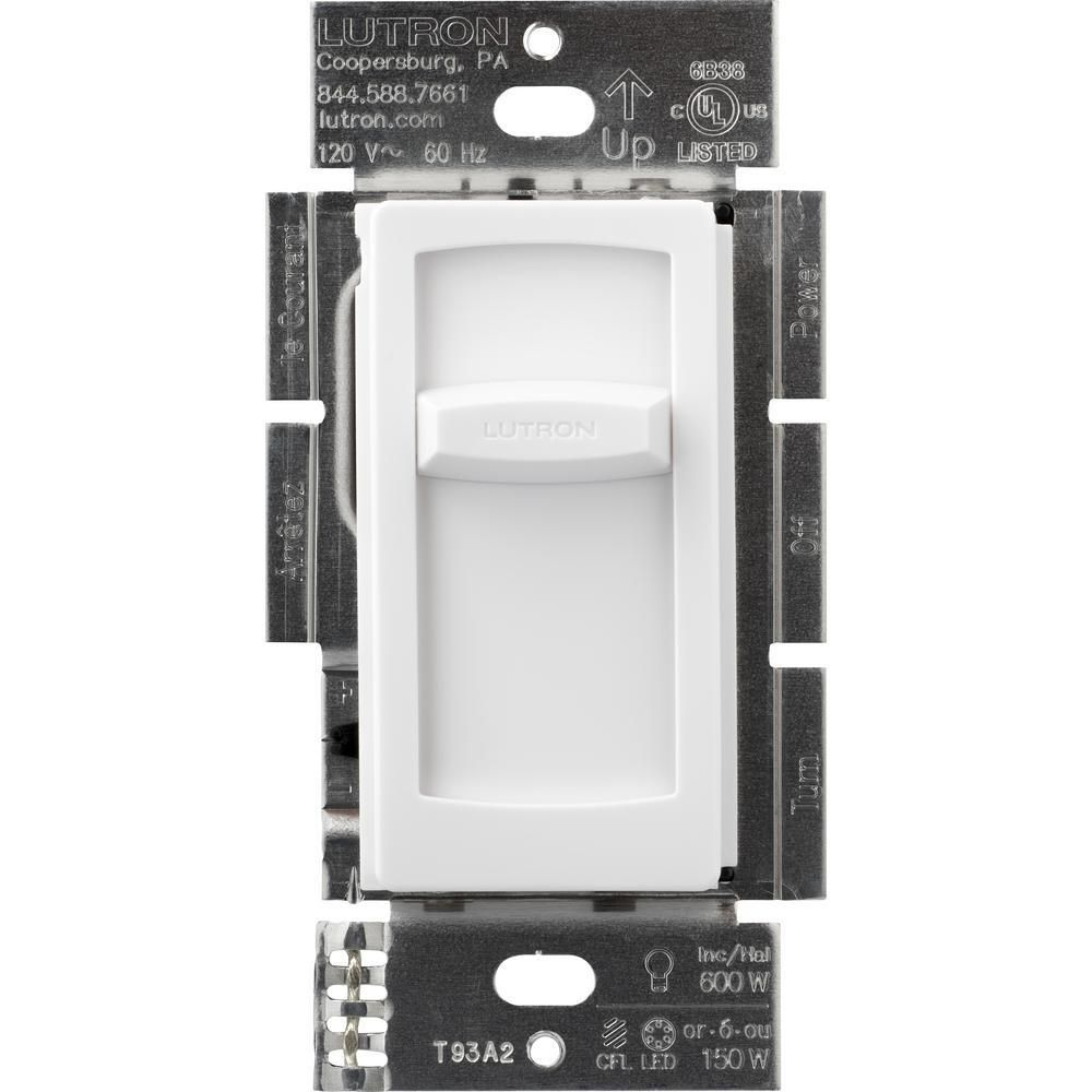 Lutron Skylark Contour Slide Led Dimmer Switch For Dimmable Led Incandescent And Halogen Bulbs Single Pole White Ctcl 150h Wh The Home Depot In 2020 Led Dimmer Switch Dimmable Led Led Dimmer