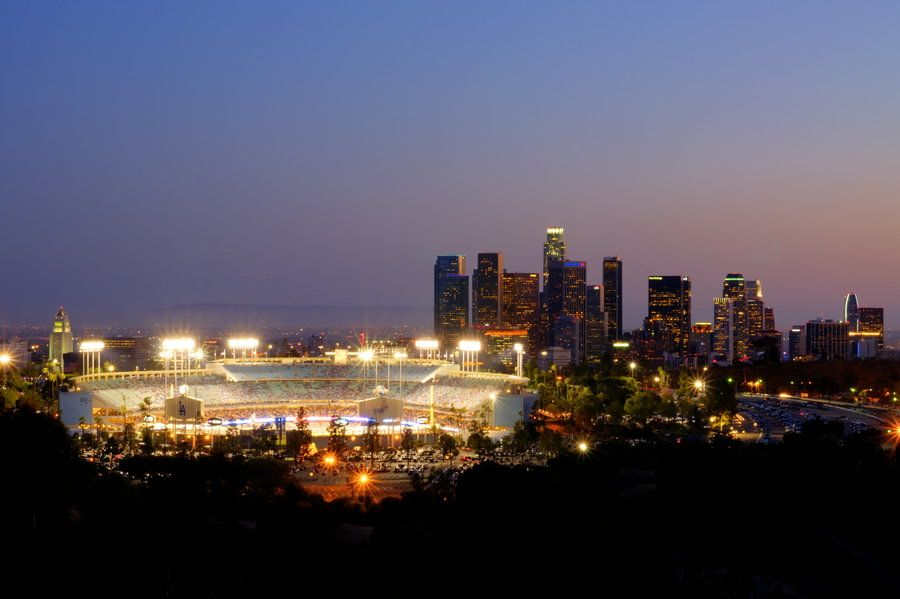 """Take Me Out To The Ballgame...""  Dodger Stadium at night. Read my writeup at 500px.com. Click on the link above."