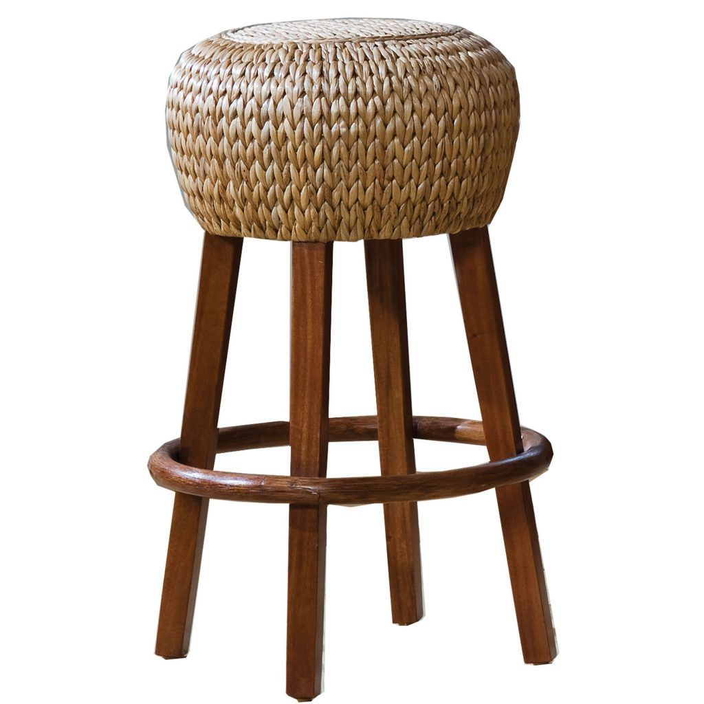 Furniture backless rounded seagrass seat bar stool with varnished wooden legs seagrass bar stools