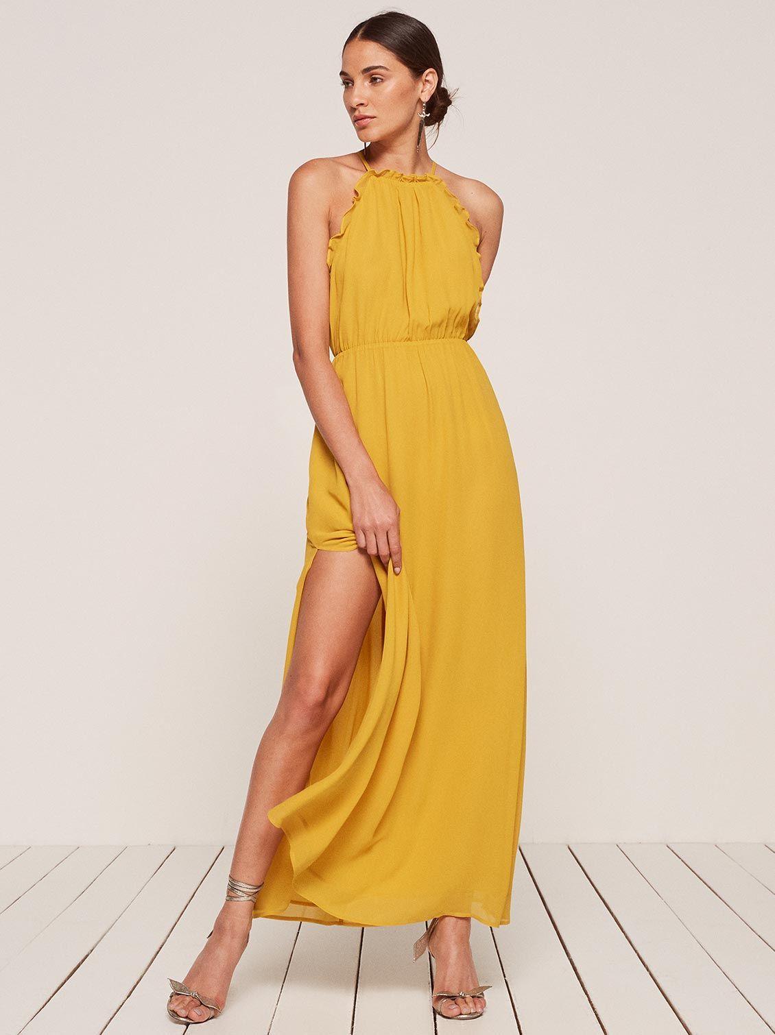 2068f32d12 Rambla halter maxi dress sunflower yellow Reformation