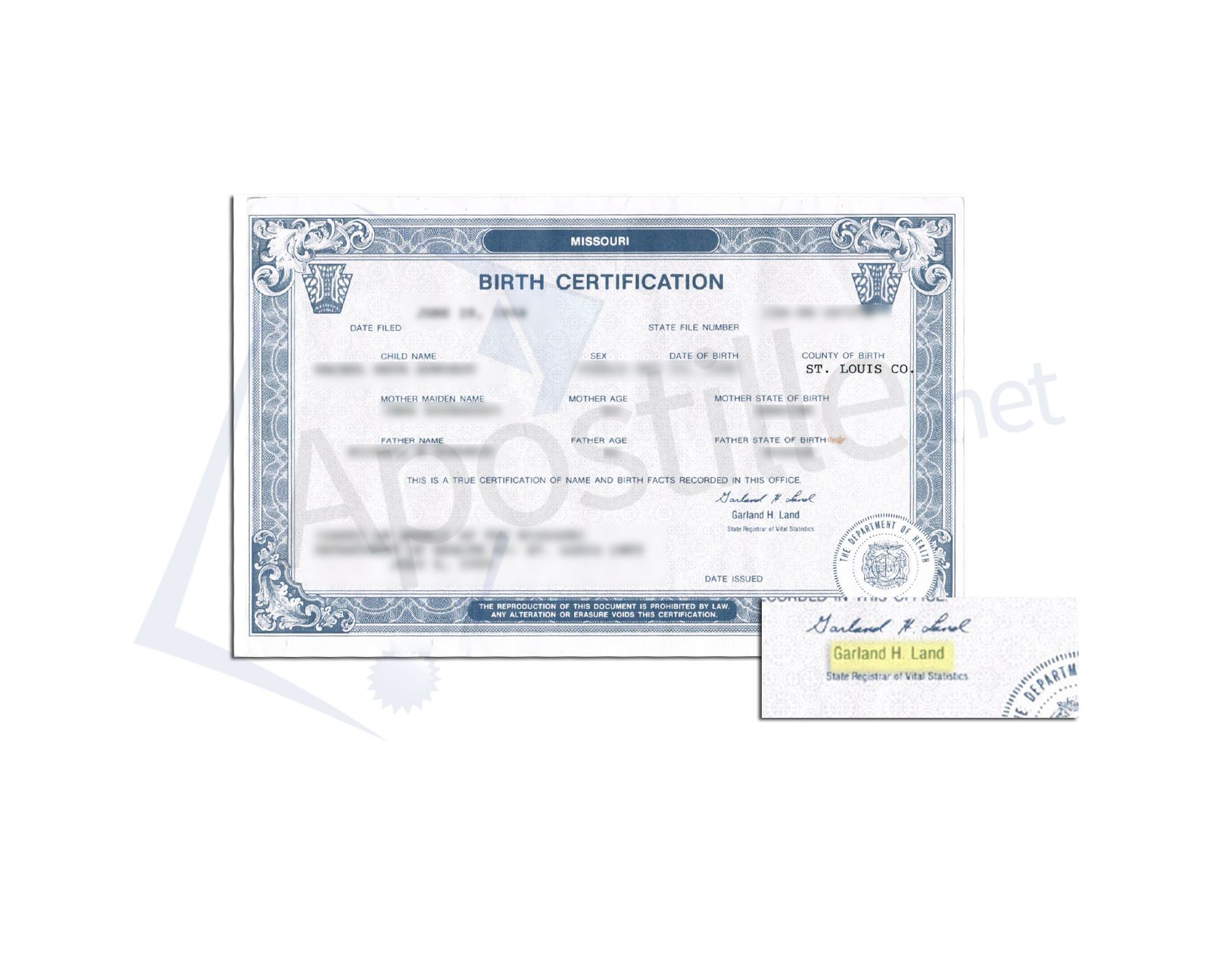 Saint Louis County State Of Missouri Birth Certificate Signed By