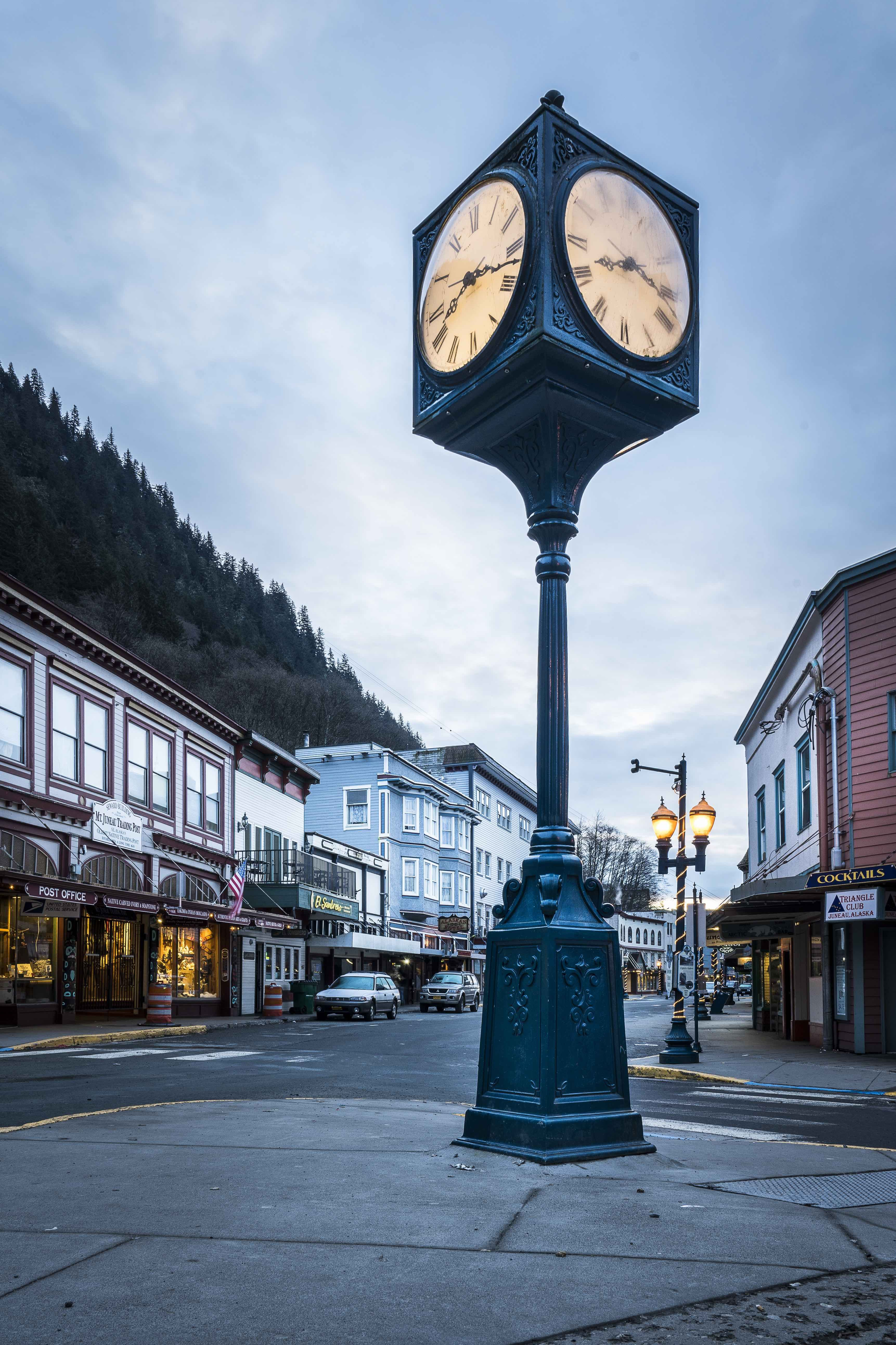 Downtown Juneau Clock On The Corner Of Franklin Street