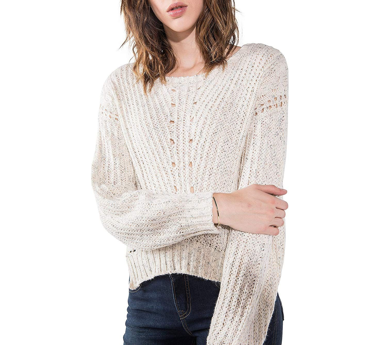 Womens Shawni Boxy Crop Sweater Silver Jeans Co