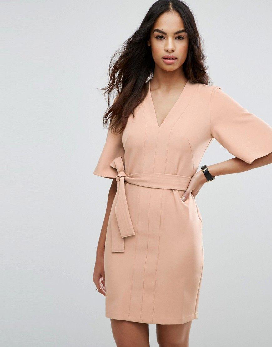 ASOS - Schlichtes Mini-Kleid in Wickeloptik mit Schleifengürtel ...