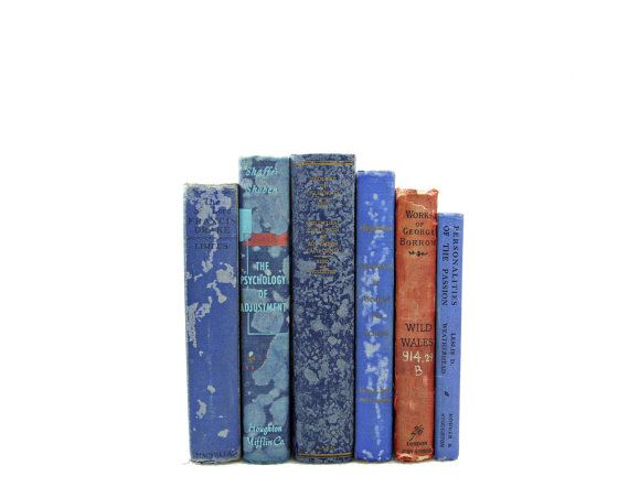 BLUE SHABBY CHIC 1940s Decorative Books, Wedding decor, Centerpiece, Vintage Book Gift, Home Book Decor,  Book Collection, Antique, on Etsy, $41.75